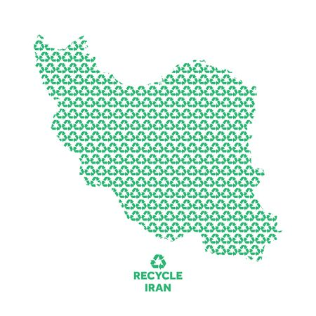 Iran map made from recycling symbol. Environmental concept