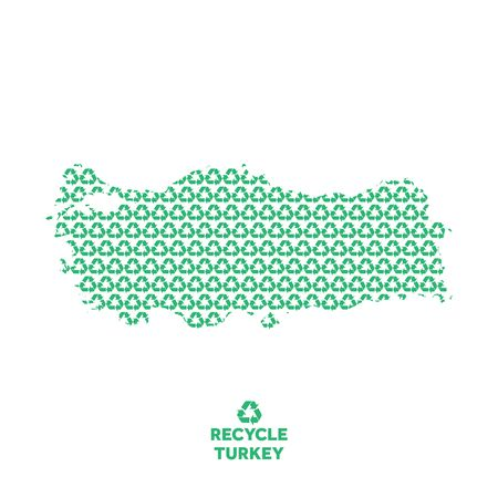 Turkey map made from recycling symbol. Environmental concept Çizim