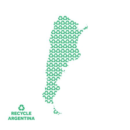 Argentina map made from recycling symbol. Environmental concept Çizim