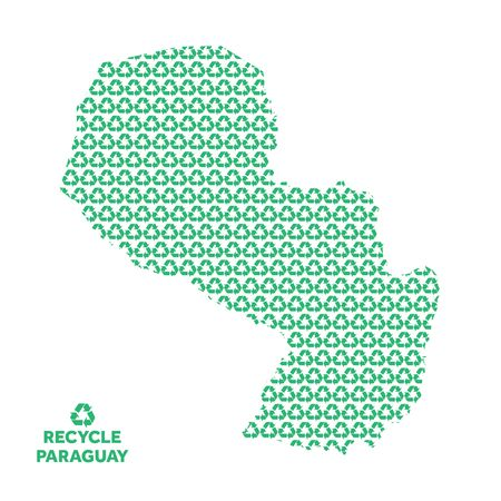 Paraguay map made from recycling symbol. Environmental concept Çizim