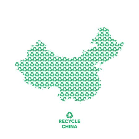 China map made from recycling symbol. Environmental concept