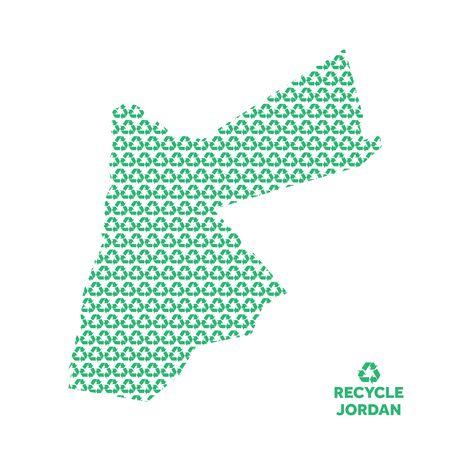 Jordan map made from recycling symbol. Environmental concept
