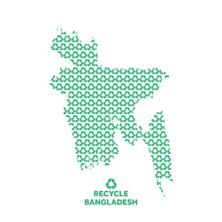 Bangladesh map made from recycling symbol. Environmental concept