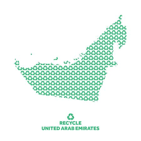 United Arab Emirates map made from recycling symbol. Environmental concept Çizim