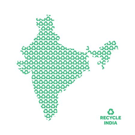 India map made from recycling symbol. Environmental concept