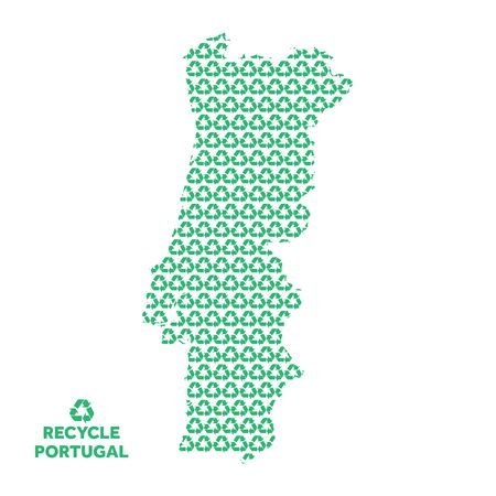 Portugal map made from recycling symbol. Environmental concept