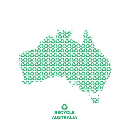 Australia map made from recycling symbol. Environmental concept