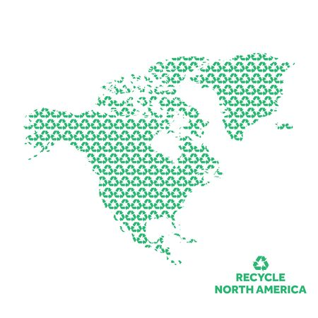 North America map made from recycling symbol. Environmental concept