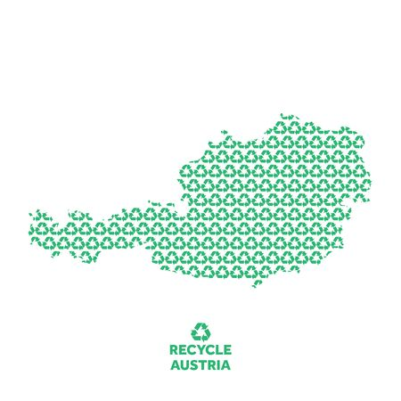 Austria map made from recycling symbol. Environmental concept Çizim