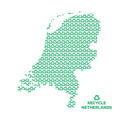 Netherlands map made from recycling symbol. Environmental concept