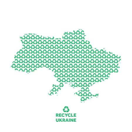 Ukraine map made from recycling symbol. Environmental concept