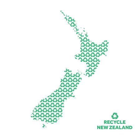 New Zealand map made from recycling symbol. Environmental concept Çizim