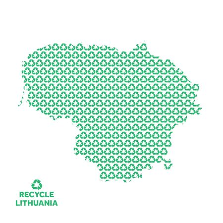 Lithuania map made from recycling symbol. Environmental concept Çizim