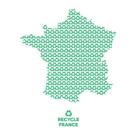 France map made from recycling symbol. Environmental concept Çizim