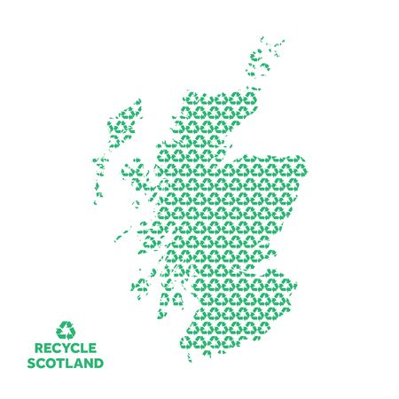 Scotland map made from recycling symbol. Environmental concept