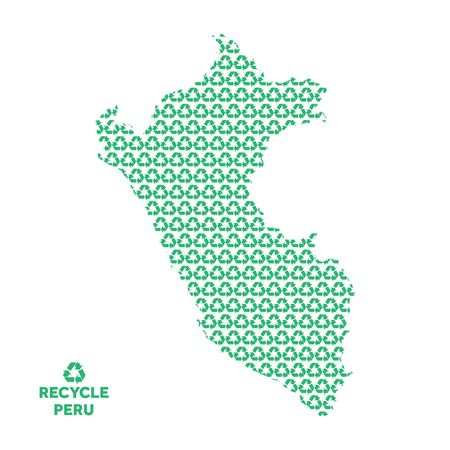 Peru map made from recycling symbol. Environmental concept Çizim
