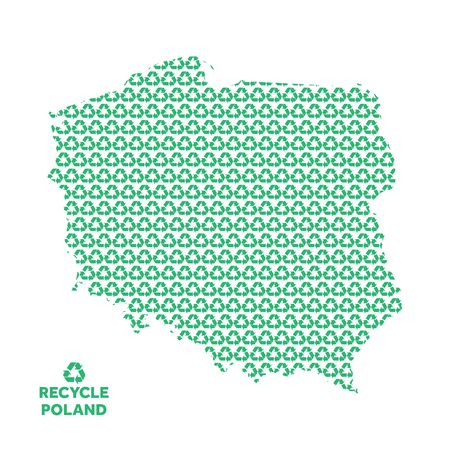 Poland map made from recycling symbol. Environmental concept