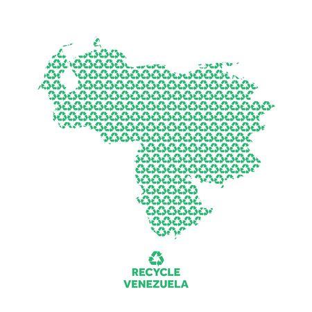 Venezuela map made from recycling symbol. Environmental concept