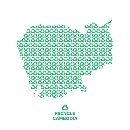 Cambodia map made from recycling symbol. Environmental concept