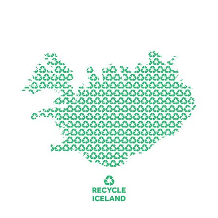 Iceland map made from recycling symbol. Environmental concept