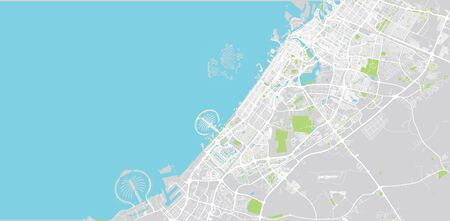 Urban vector city map of Dubai, United Arab Emirates