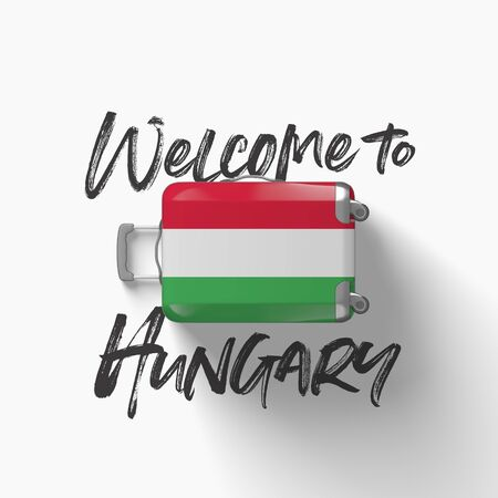 Welcome to Hungary. national flag on a travel suitcase. 3D Render
