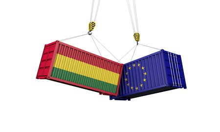 Bolivia and europe trade war concept. Clashing cargo containers. 3D Render 版權商用圖片