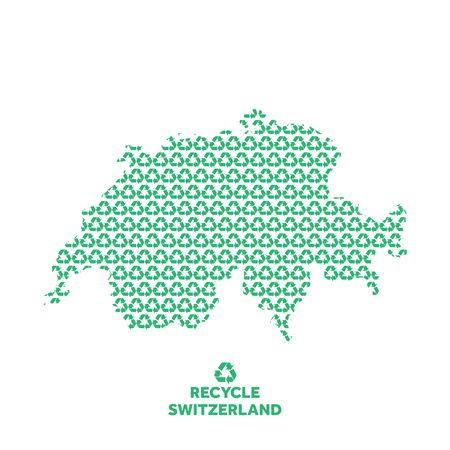 Switzerland map made from recycling symbol. Environmental concept