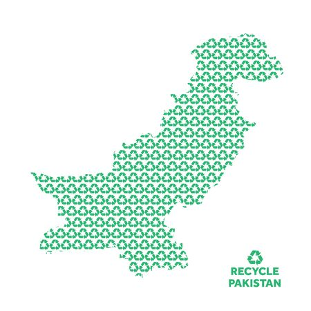 Pakistan map made from recycling symbol. Environmental concept