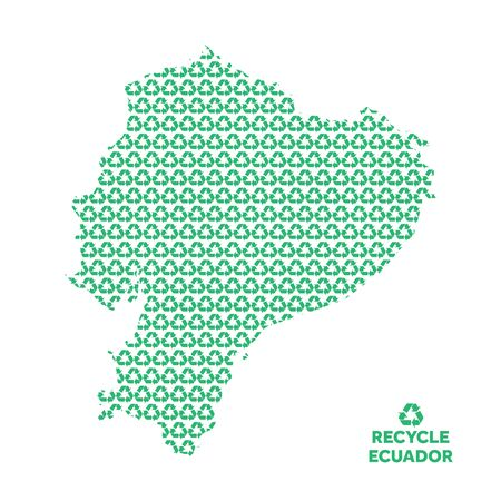 Ecuador map made from recycling symbol. Environmental concept