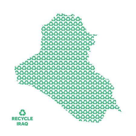 Iraq map made from recycling symbol. Environmental concept