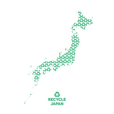 Japan map made from recycling symbol. Environmental concept Çizim