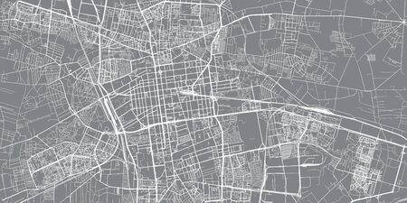 Urban vector city map of Lodz, Poland