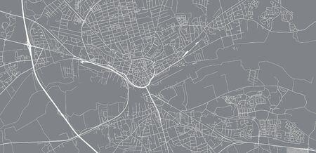 Urban vector city map of Randers, Germany Иллюстрация