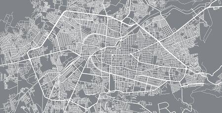 Urban vector city map of Morelia, Mexico