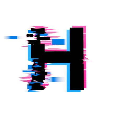 Letter H distorted neon glitch effect text font. 3D Render