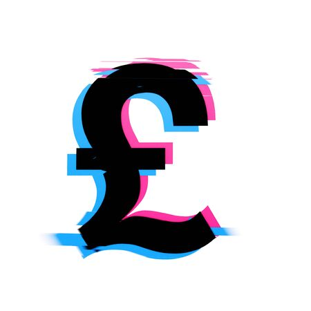 Pound sterling symbol distorted neon glitch effect text font. 3D Render