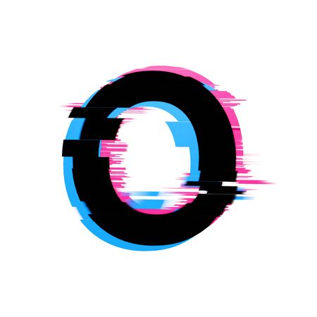 Letter O distorted neon glitch effect text font. 3D Render