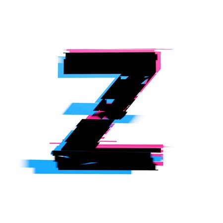 Letter Z distorted neon glitch effect text font. 3D Render