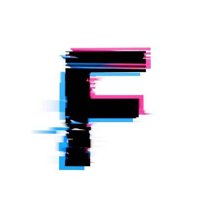 Letra F fuente de texto de efecto de falla de neón distorsionada. Render 3D