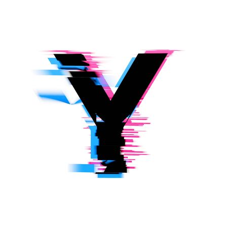 Letter Y distorted neon glitch effect text font. 3D Render
