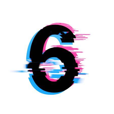 Number 6 distorted neon glitch effect text font. 3D Render 免版税图像