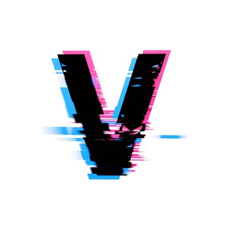 Letter V distorted neon glitch effect text font. 3D Render 免版税图像