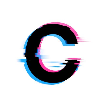Letter C distorted neon glitch effect text font. 3D Render