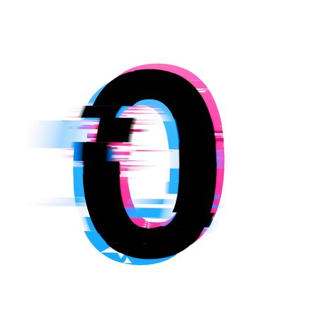 Number distorted neon glitch effect text font. 3D Render