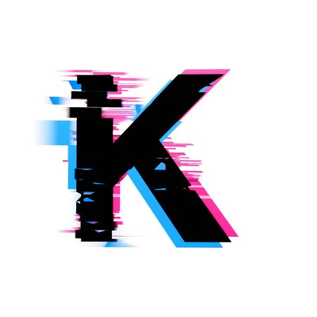 Letter K distorted neon glitch effect text font. 3D Render