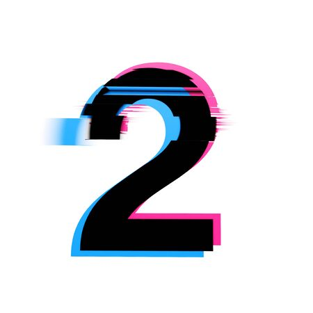 Number 2 distorted neon glitch effect text font. 3D Render