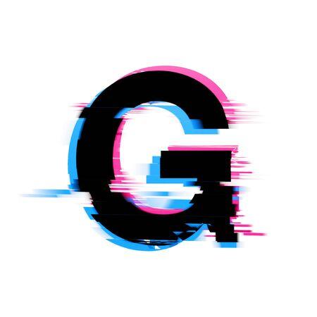 Carattere di testo con effetto glitch al neon distorto della lettera G. Rendering 3D Archivio Fotografico