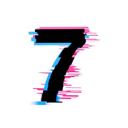 Number 7 distorted neon glitch effect text font. 3D Render