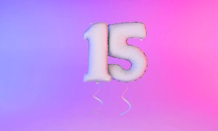White number 15 celebration balloon greeting background. 3D Rendering Фото со стока - 131949155